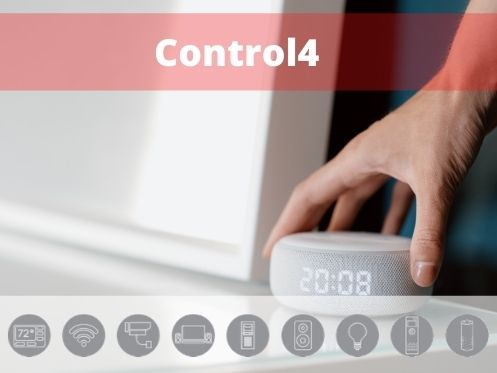 Distribuidor Control4, en el fondo se puede ver los servicios que ofrece Control4
