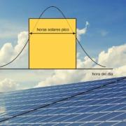 mostramos un panales solares, con la gráfica de hora solar pico